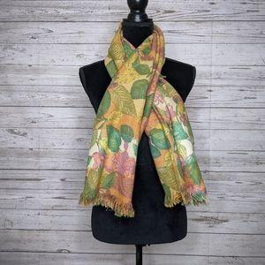 fendi • vintage foliage oversized blanket scarf